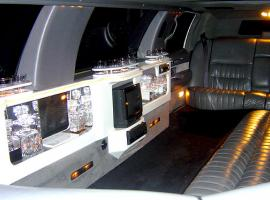 interior of the limousine with TV